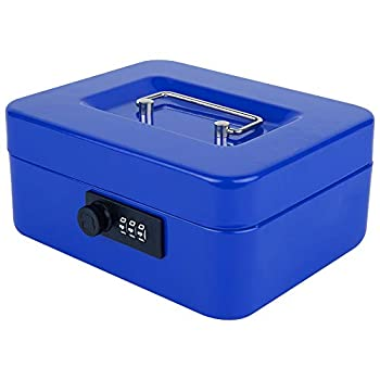 KYODOLED Cash Box with Combination Lock,Safe Metal Box for Money,Storage Lock Box with Money Tray,7.87 x 6.30 x 3.54  Blue Medium