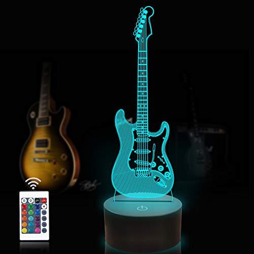 CooPark Gitarrenlampe 3D-Nachtlicht für Kinder mit Remote & Smart Touch 7 Farben + 16 Farben Ändern der dimmbaren Gitarre Spielzeug 1 2 3 4 5 6 7 8 Jahre alte Jungen- oder Kindergeschenke