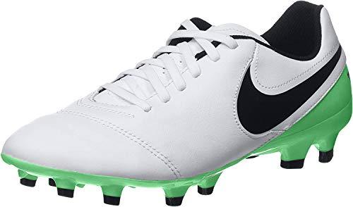 Nike Tiempo Genio II Leather FG, Zapatillas de Trail Running para Hombre, White Black Electro Green 103, 45 EU