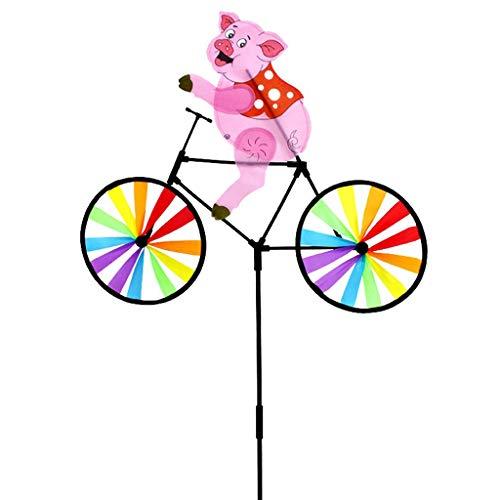 suoryisrty Nettes Schwein des Tier-3D auf Fahrrad-Windmühlen-Karussell-Garten-Rasen-Yard-Dekor-Wind-Spinner