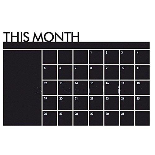 Zelfklevende maandplanner to-do-lijst memoboard bord stickers multifunctionele maandkalender/bericht op schoolbord bord bord voor thuis kantoor decoratie (zwart)