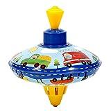 Brummkreisel für Kinder, Metall Kreisel, Schwungkreisel aus Blech, klassischer Pumpkreisel, Blechkreisel mit Spitze, Spielzeugkreisel für Kinder ab 18 Monate