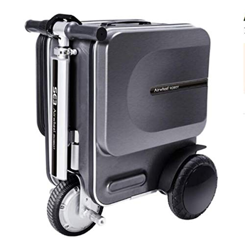 ZEH Scooter 29.3L Smart Riding Scooter Se3 Suitcase with Hidden Stretchable Rod Capacity Safety Load 90Kg,Black FACAI (Color : Black)