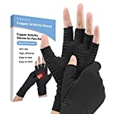 Compression Gloves, Fomibobri Copper Arthritis Gloves Can Relieve Joint Pain, Carpel Tunnel, Rheumatoid Arthritis, Swelling and Fatigue Symptoms, Hand Brace Support for Women and Men…