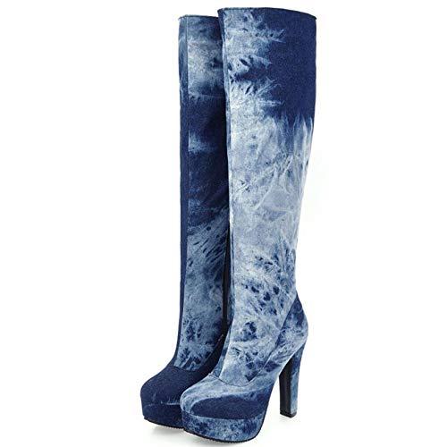 Women's High Chunky Heel Zip Platform Knee High Long Boots, Ladies Block Heel Fashion Knight Riding Booties Deep Blue