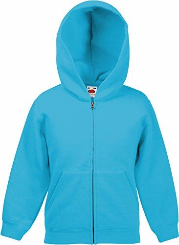 Fruit of the Loom: Kids Hooded Sweat Jacket 62-045-0, Größe:116 (5-6);Farbe:Azure Blue