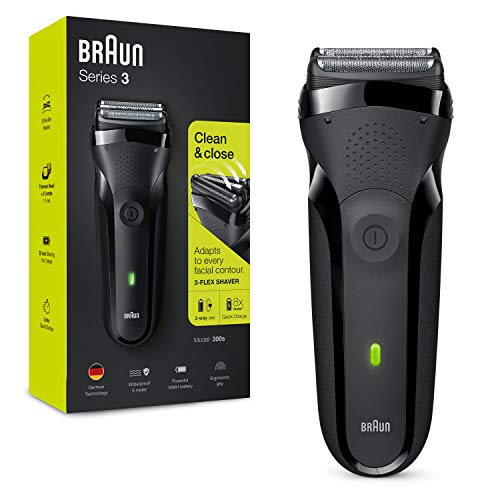 Braun Series 3 300 Electric Shaver Electric Razor for Men with 3 Flexible Blades Rechargeable and Cordless Electric Foil Washable Shaver Black, 2 pin plug