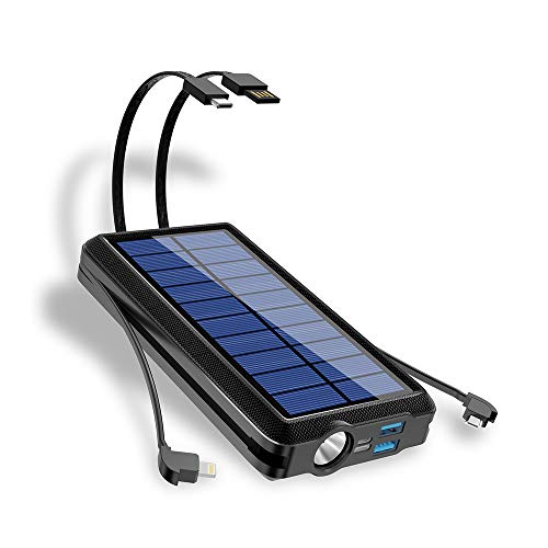 PSOOO Solar Charger for Camping High Capacity Power Bank with 2 Wire Cable 20000mAh Waterproof Battery with Flashlight Lights USB Type C Portable Fast Charging for iPhone Laptop Android (Black)