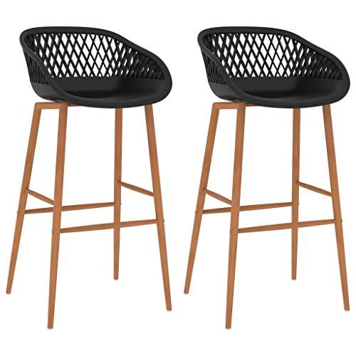 vidaXL 2X Taburetes de Cocina Muebles Interior Sillas Asientos Altas de Bar Barra Bistró Mostrador Hogar Pub Respaldo Comedor Casa Negro