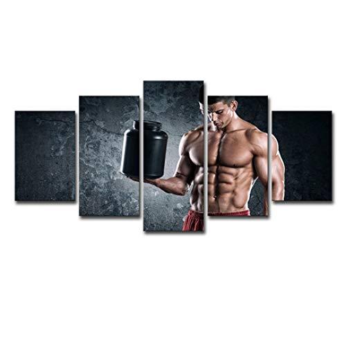 Ssltdm Wandbild,5 Wandkunst männlichen Muskelbauch Schönheit Fitness Heimtextilien Leinwand Malerei