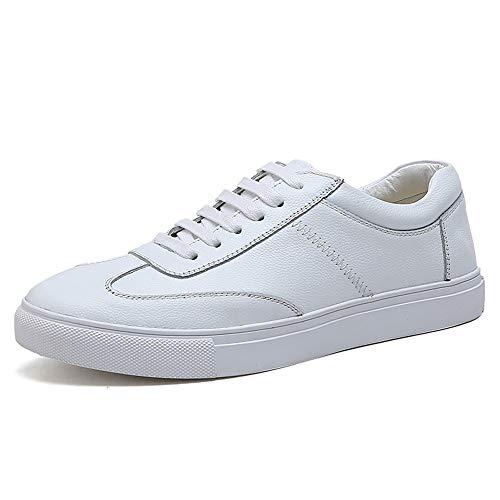 Zapatos de hombre de cuero, casual, vestido formal Moda zapatillas de deporte de los zapatos del tablero Los blancos deportes atléticos plana ata for arriba del cuero genuino al aire libre de los zapa