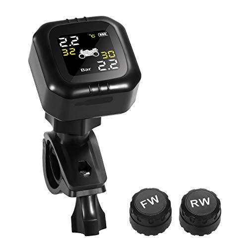 KKmoon TPMS per Moto Monitor Sistema di Controllo Pressione Pneumatici Impermeabile con 2 Sensori Esterni, Attrezzatura Sistemi di Monitoraggio Pressione Degli Pneumatici