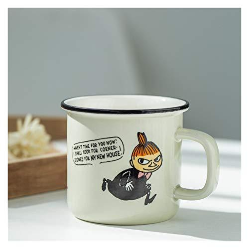 Taza de agua Taza de cerámica creativa Moda de dibujos animados Taza de café del esmalte retro Taza de la leche de la oficina del hogar 300ml Taza de café de gran capacidad de 300 ml envase