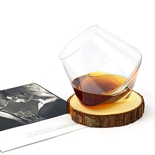 KNAGHT Vaso de Whisky Irregular Giratorio de Cerveza de Vientre Alto Whisky Brandy cóctel Vaso de Vaso Vaso de Vino Set 2 Transparente