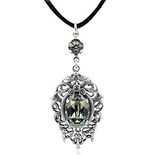 nobel-schmuck Jugendstil Kette mit Kristallen von Swarovski® Silber Black Diamond