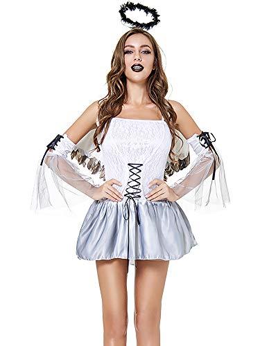 Feynman Mujer Negro Ángel Novia Vampiro Novela Disfraces Vestido Fiesta Halloween Blanco XL