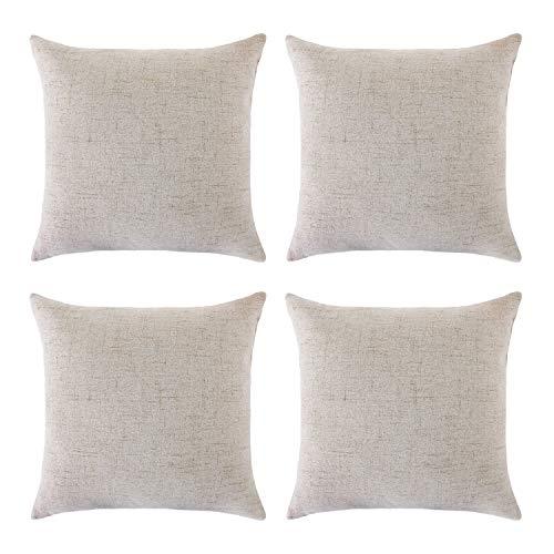 Deconovo Lot de 4 Housse de Coussin 45x45 Effet Lin Decoration Maison Chambre Salon pour Clic Clac Sofa Canapé Intérieur ou Exterieur Lin Naturel