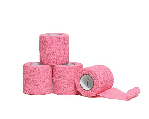 HealiT SafeGrip™ Cohesive Bandage 2inch-Wide Self-Adhering Performance Athletic Wrap Medical Tape, Flexible Breathable, Sports Tape Ideal for Stretch Ankle Sprains, Swelling, Wrist - Pink - 4 Pack