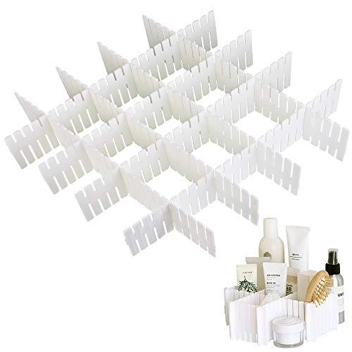 LYTIVAGEN 8 Stück Schubladenteiler Verstellbar Fachteiler Weiße Schubladeneinteiler Schubladenraster für Möbel des Schlafzimmer, Badezimmer, Küche, Keller und Büro(Ohne BAP)