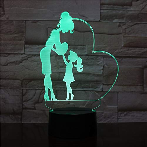 MOM and Daughter | 3D Optical Illusion Hologram Night Lamp | Led Lampeez for Mom/Lady/Girlfriend/Wife/Daughter/Sister | Premium Present Idea for Her | Remote/Longer/USB Adapter Included