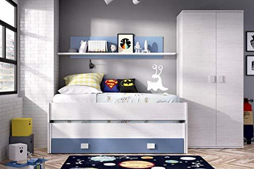 HABITMOBEL Pack Dormitorio Juvenil, Cama Nido 2 cajones + Armario de 2 Puertas 90 cm,COLCHONES Y SOMIER INCLUIDOS