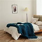 RAILONCH Gestrickte Grobstrick Decke,Wolldecken Grob Strickdecke Bett Blanket Handgewebte Überwurf Decke Schlafsofa Wohnkultur Geschenk (Blau,100x150cm)