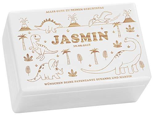LAUBLUST Holzkiste mit Gravur - Personalisiert mit Name | Datum | Widmung - Weiß, Größe M - Dino Motiv - Spielzeugkiste als Geschenkidee