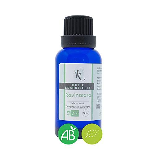 KLARCHA - Ravintsara 30 ml - Huile Essentielle Artisanale Bio HEBBD - 100% Pure et Naturelle - Issue de l'Agriculture Biologique - Labellisée ECOCERT - Sans OGM - Conditionnée en France