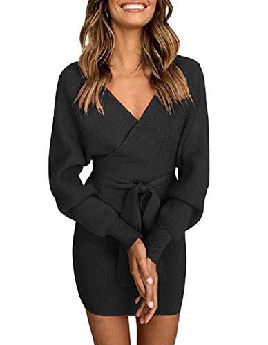 ZIYYOOHY Damen Elegant Pulloverkleid Strickkleid Tunika Kleid V-Ausschnitt Langarm Minikleid Mit Gürtel (L(40), Schwarz)