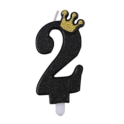 Candele per Torta di Compleanno Nero Numero 2 Candele per Compleanno Particolari Cake Topper 9cm