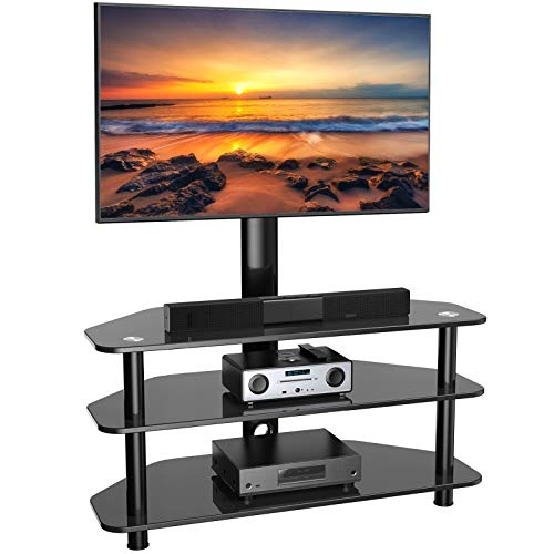 Swivel Floor TV Stand/Base for 32-65 Inch TVs-Universal Corner TV Floor Stand with Storage Perfect for Media-Height Adjustable Entertainment Stand with Cable Management, VESA 600x400mm PSFS04