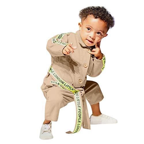 Manches Longues pour Enfants Lettre One Piece Jacket + Belt Set Toddler Enfants Bébés Garçons Filles Manches Longues Lettre Pocket Belt Coat Fashion Clothes