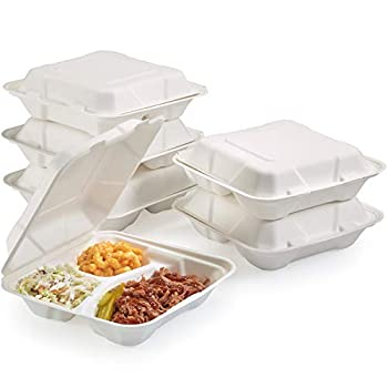 Vallo 100% Compostable Clamshell To Go Boxes For Food [8X8  3-Compartment 50-Pack] Disposable Take Out Containers Made of Biodegradable Sugar Cane Eco-Friendly Bagasse Heavy-Duty ToGo Containers For Food