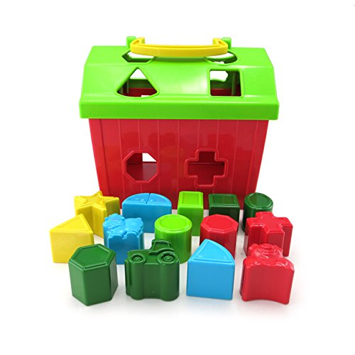 TOMY John Deere Barnyard Shape Sorter Educational Toy for Baby & Toddler with 14 Shapes