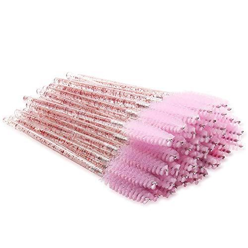 300 Pack Mascara Wands Disposable Eyelash Brushes for Extensions Eye Lash Applicator Makeup Tool kits, Crystal Handle - Light Pink Brush Head