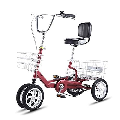 Triciclo para Adultos Bicicleta Triciclo para Adultos 12/14 En Bicicleta De Una Sola Velocidad De 4 Ruedas + Asiento Respaldo De Crucero para Personas Mayores, Mujeres, Hombres(Size:14In)