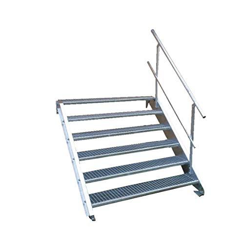 6 Stufen Stahltreppe mit einseitigem Geländer/Breite 150cm Geschosshöhe 90-120cm / Robuste Außentreppe/Wangentreppe/Stabile Industrietreppe für den Außenbereich/Inklusive Zubehör