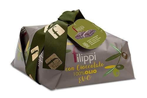 :Colomba 100% Olio EVO con Gocce di Cioccolato Vidama Pasticceria Filippi 750 g - Dolce di Pasqua senza Burro e derivati del latte - Incartata a mano con Shopper abbinata