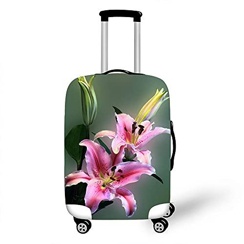 Morbuy 3D Flores Cubierta de Equipaje Protectora Lavable para Funda Maleta Elástico de Anti-Polvo para Maleta de Viaje Resistente a Los Arañazos (Flor del Lirio,M)