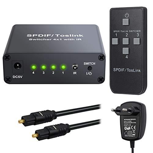 eSynic 4 Port Toslink Switch mit IR Fernbedienung 4x1 SPDIF Digitaler Optischer Audio Umschalter mit 2M Optischem Kabel und Netzteil Unterstützt DTS Dolby AC3 für PS3 PS4 One HDTV Blu-ray-Player