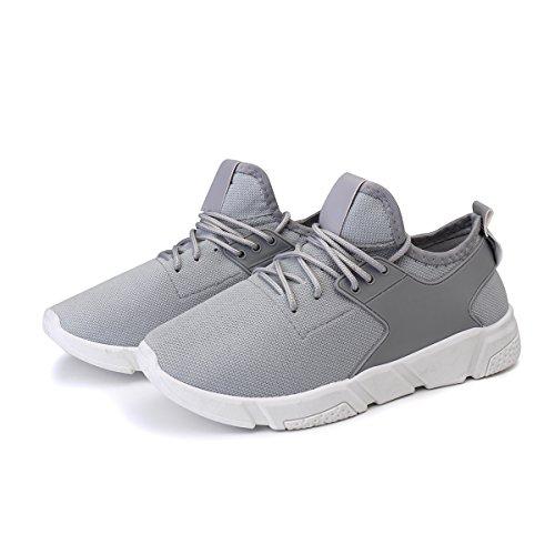 Bluelover Moda Hombres Atletismo Casual Zapatos Malla Transpirable Deportes Running Entrenamiento Zapatillas - 7,5 - Gris