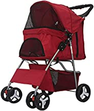 Comft Dog Stroller 4 Wheels Pet Stroller for Small & Medium Dogs and Cats, Foldable Waterproof Carrier Strolling Cart Jogging Stroller with Mesh Window (4 Wheels, Red)