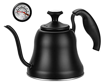 Chefbar Tea Kettle with Thermometer for Stove Top Gooseneck Kettle, Small Pour Over Coffee Kettle, Goose Neck Tea Pot Stovetop Teapot, Hot Water Heater Boiler for Camping, Home & Kitchen, Matte Black
