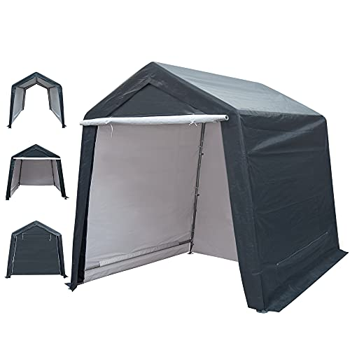 DOIFUN 8x8 ft Outdoor Storage Shelter with Rollup Zipper Door Portable Garage Kit Tent Carport Shed for Motorcycle Gardening Vehicle ATV and Car, Gray, 8'X8'