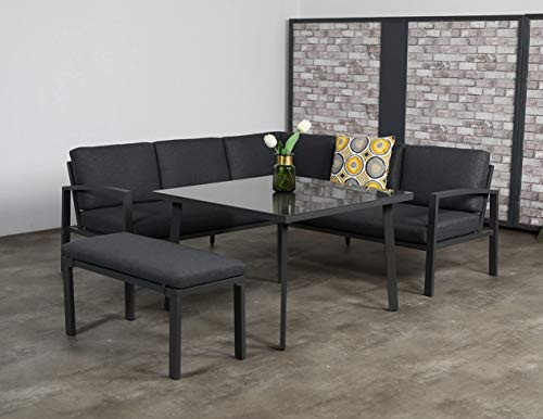 Garden Impressions Hohe Dining Aluminium Lounge Wellington, inklusive XL Bank und wasserabweisender Kissen