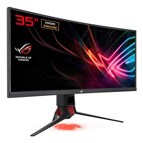 ASUS ROG XG35VQ Ecran PC gaming eSport 35' UWQHD Dalle VA incurvée 1800R 21:9 100Hz 1ms 3440 x 1440 300cd/m² DP, 2x HDMI et 2x USB3.0 AMD FreeSync AuraSync