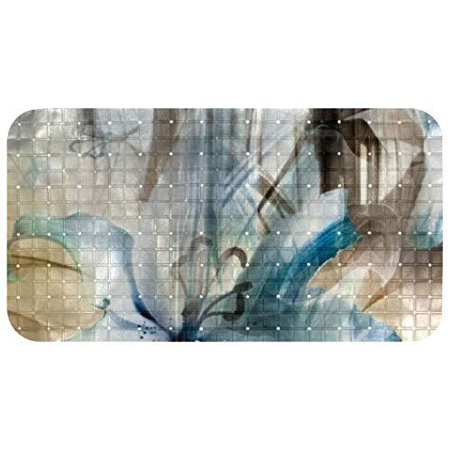Bennigiry Bathtub Mats Non Slip Bathroom Shower Mat Foot Mat with Suction Cups 100% Non-toxic Flower Silk