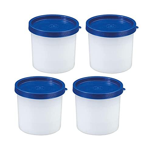 Westmark 4 Kräuter-/Gefrierdosen, inkl. Deckel, Füllvolumen: je 200 ml, stapelbar, Kunststoff, Trio, Farbe: Transparent/Blau, 25842270