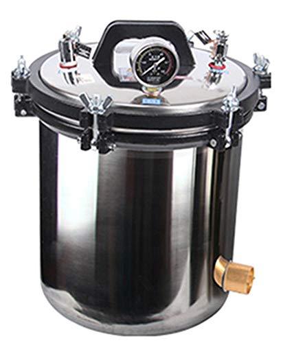 CGOLDENWALL Tragbarer Autoklav Dampfsterilisator Edelstahl Heizung Autoklav Elektrisch Beheizt Autoklav Sterilisator Einheit Hochdruck-Sterilisator Sterilisator Sterilisationstopf (Kapazität: 18L)