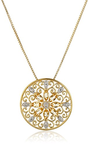 18k Yellow Gold Plated Sterling Silver Genuine Citrine and Diamond Accent Filigree Mandala Pendant Necklace, 18
